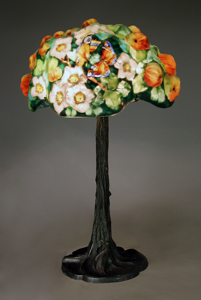 This rare Pairpoint Apple Tree puffy lamp is one of several Pairpoint puffies we'll have at the show
