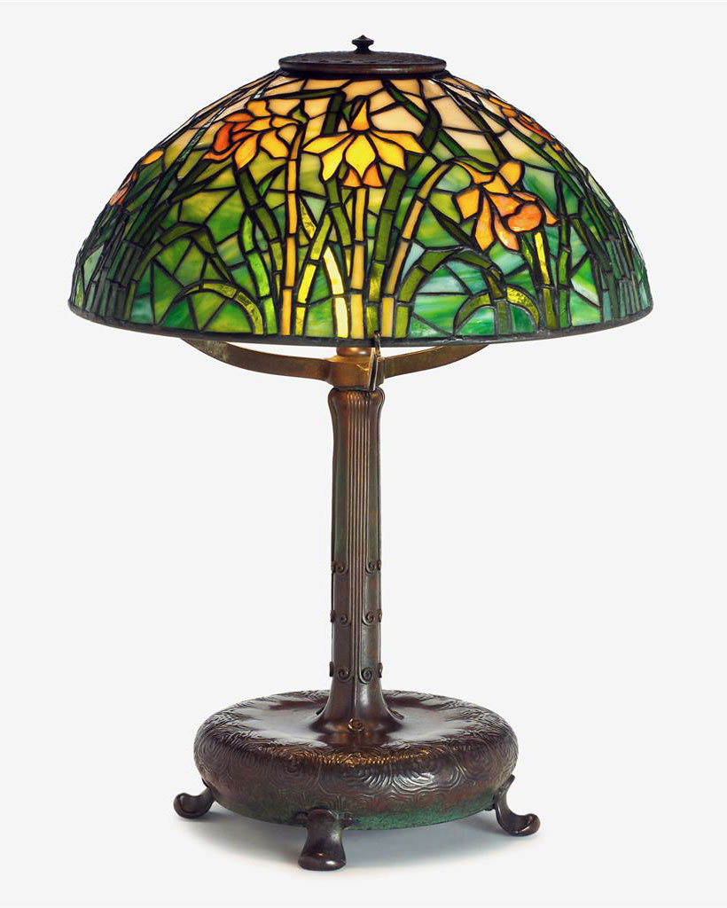 "We sold this fine Tiffany Studios 16"" Daffodil table lamp at the show"