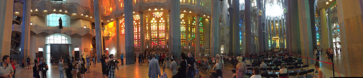 A panoramic view of the interior of the Sagrada Familia