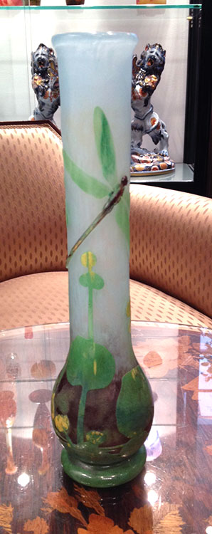 Wonderful Daum vase with two applied and wheel-carved dragonflies