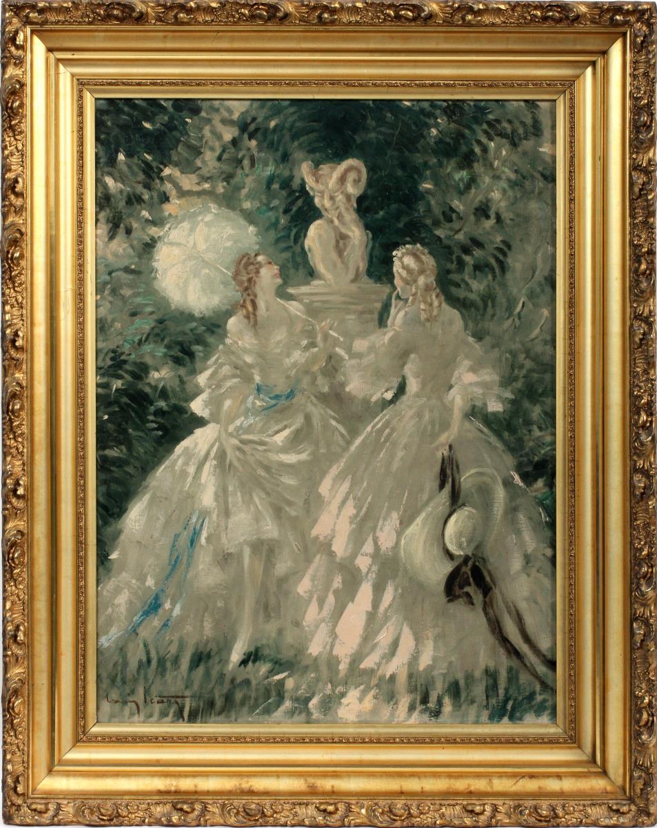 Icart oil painting Satyre, Satyr, DuMouchelle lot #2052