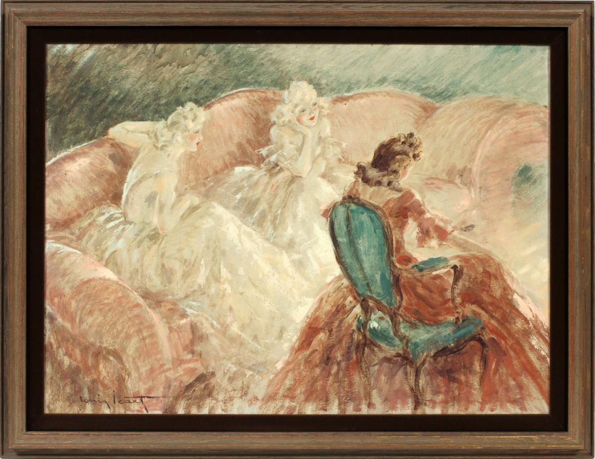 Icart oil painting Devant Le Feu, Dumouchelle lot #2051