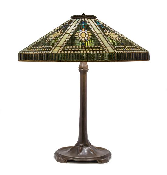 Tiffany Studios Empire Jewel table lamp, Hindman lot #144