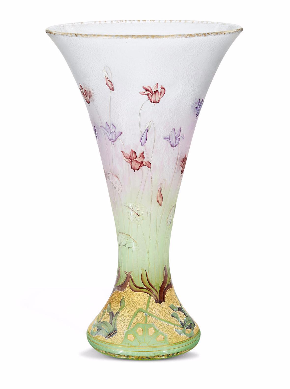 Fine Daum Nancy Cyclamen vase, Bonhams lot #27