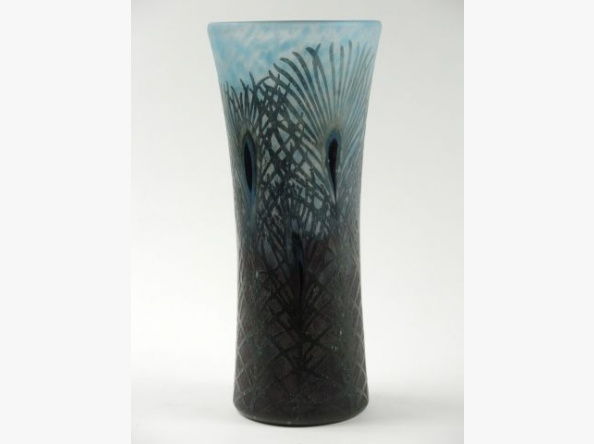 Fine Daum Nancy Peacock Feather vase