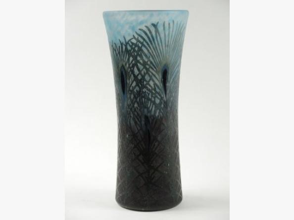 Fine Daum Nancy Peacock Feather vase