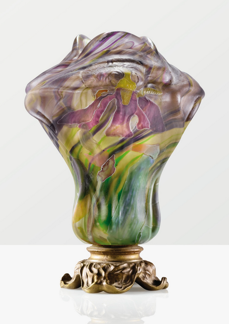This important Gallé marquetry vase, Sur Socle Grand Iris, sold at Sotheby's in Paris for $476,325