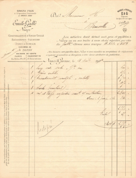 Original Gallé invoice