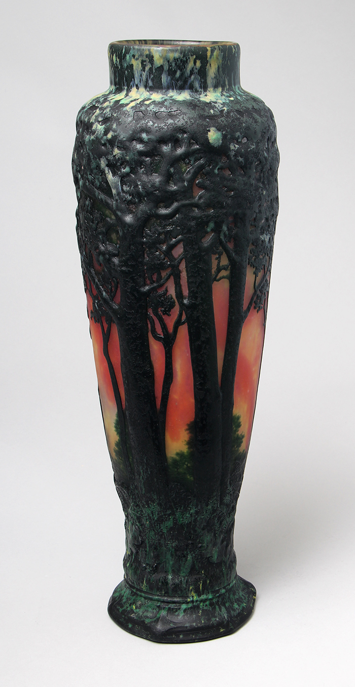 Daum 17¼-inch blownout scenic vase