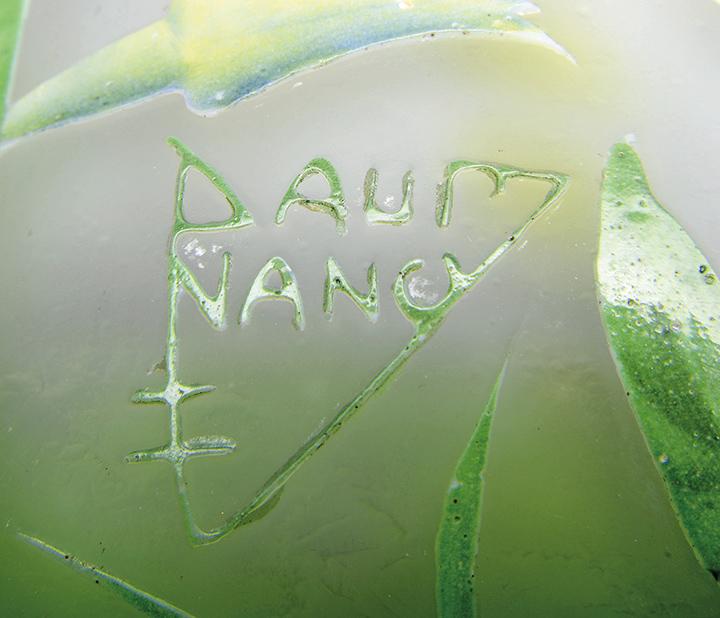 Daum acid-etched and enameled cameo signature