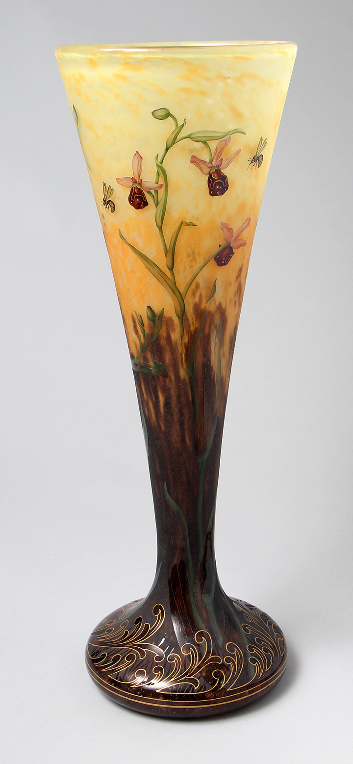 This monumental Daum vase with wild orchids, bees and spider webs was part of the collection I just purchased and sold