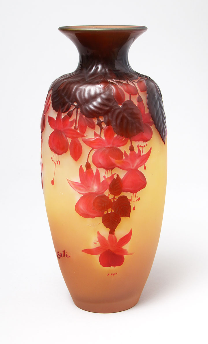 We sold this beautiful Gallé blownout Fuchsia vase at the show