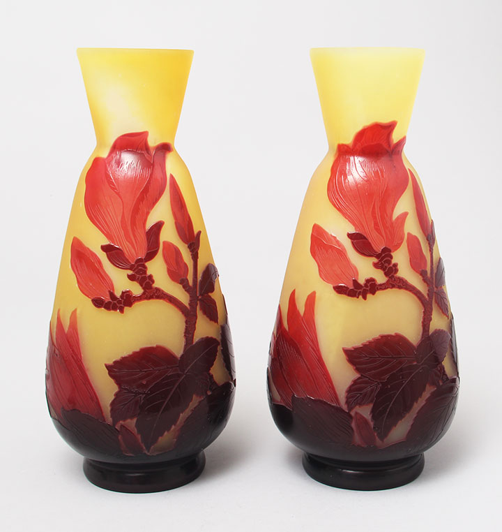 Pair of Gallé Magnolia floral vases