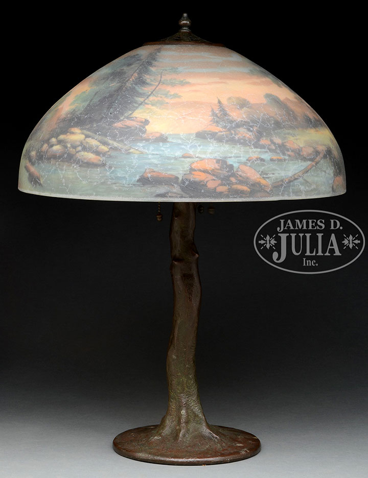 "Handel 18"" diameter scenic table lamp, Julia lot #3061"
