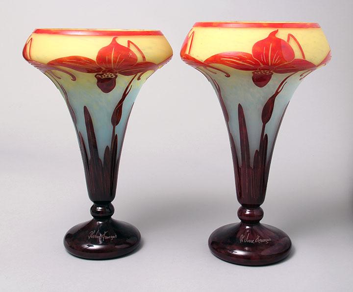 Pair of Le Verre Francais Orchidées vases
