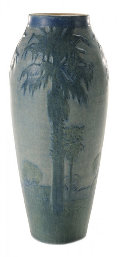 Newcomb College scenic vase, Brunk lot #313