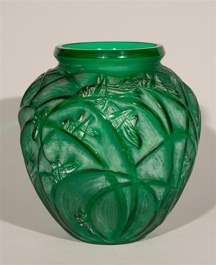 Green R. Lalique Sauterelles vase, Grogan lot #192