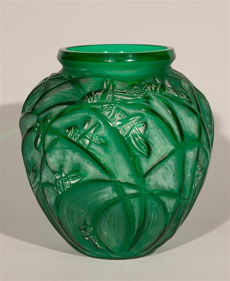 Green R. Lalique Sauterelles vase, Grogan lot #192