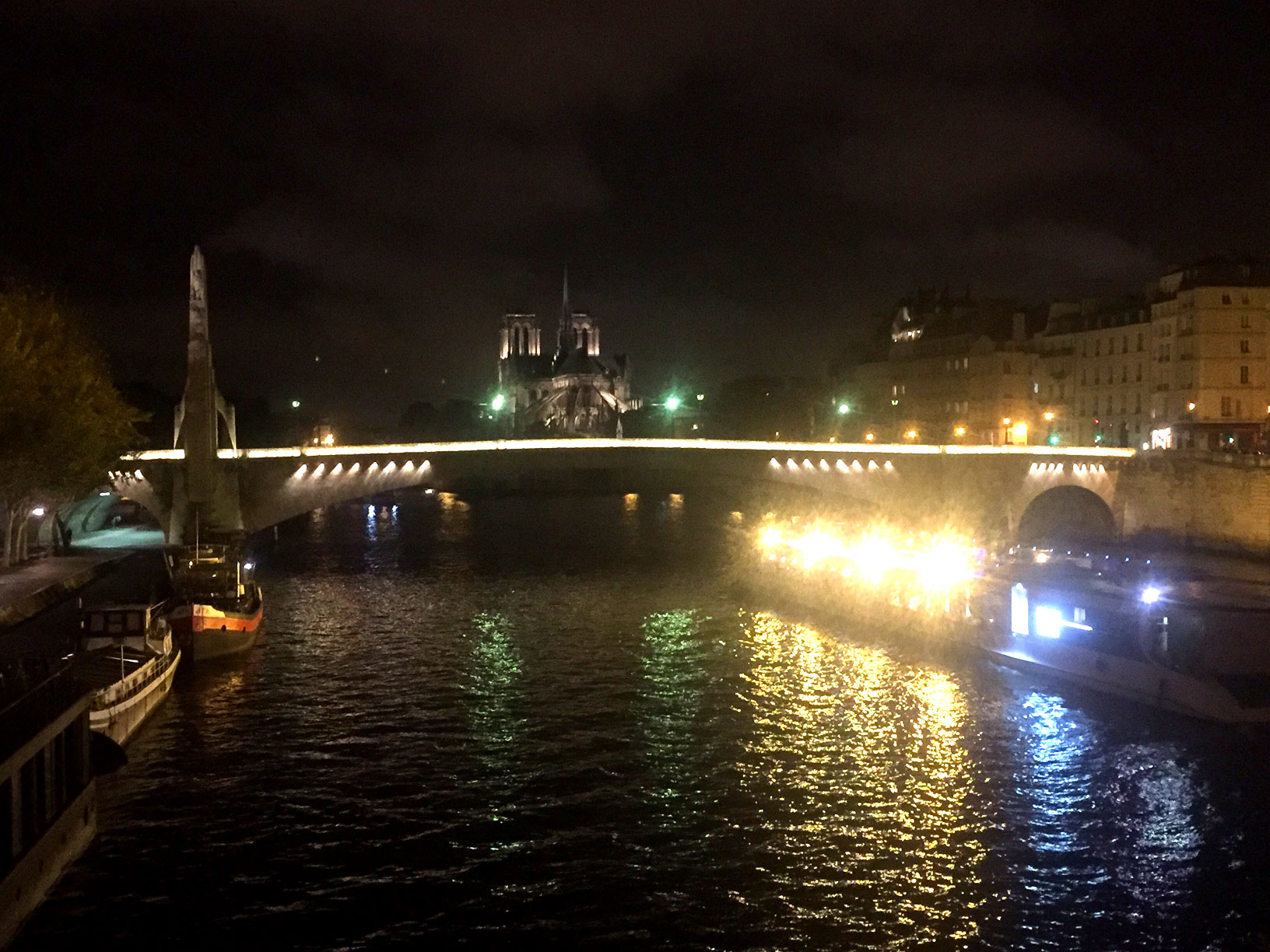 The Seine looking west with a tour boat in the foreground and Notre Dame beyond
