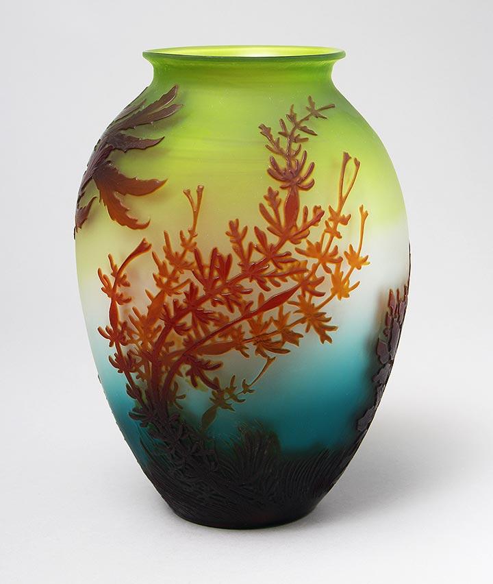 """Rare Gallé Undersea 11"""" vase"""