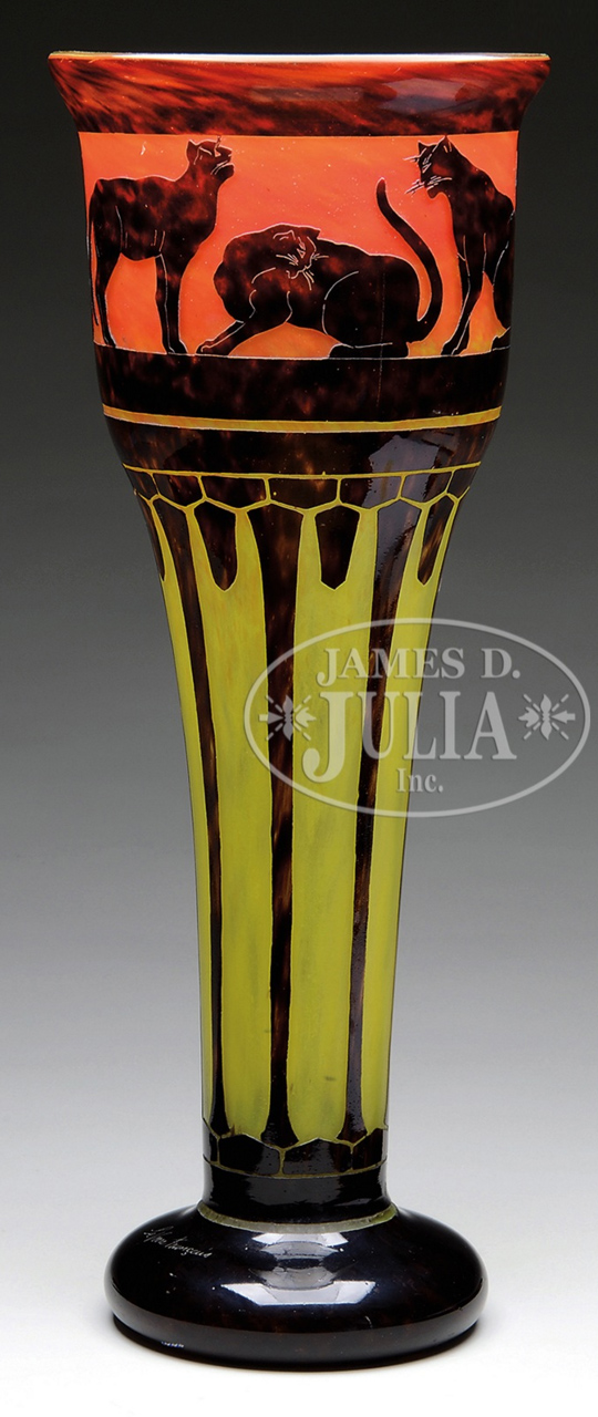 Rare Le Verre Francais cat vase,  Julia lot #1611