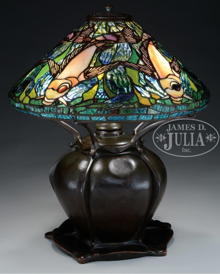 Tiffany Studios Koi Fish lamp, Julia lot #1202