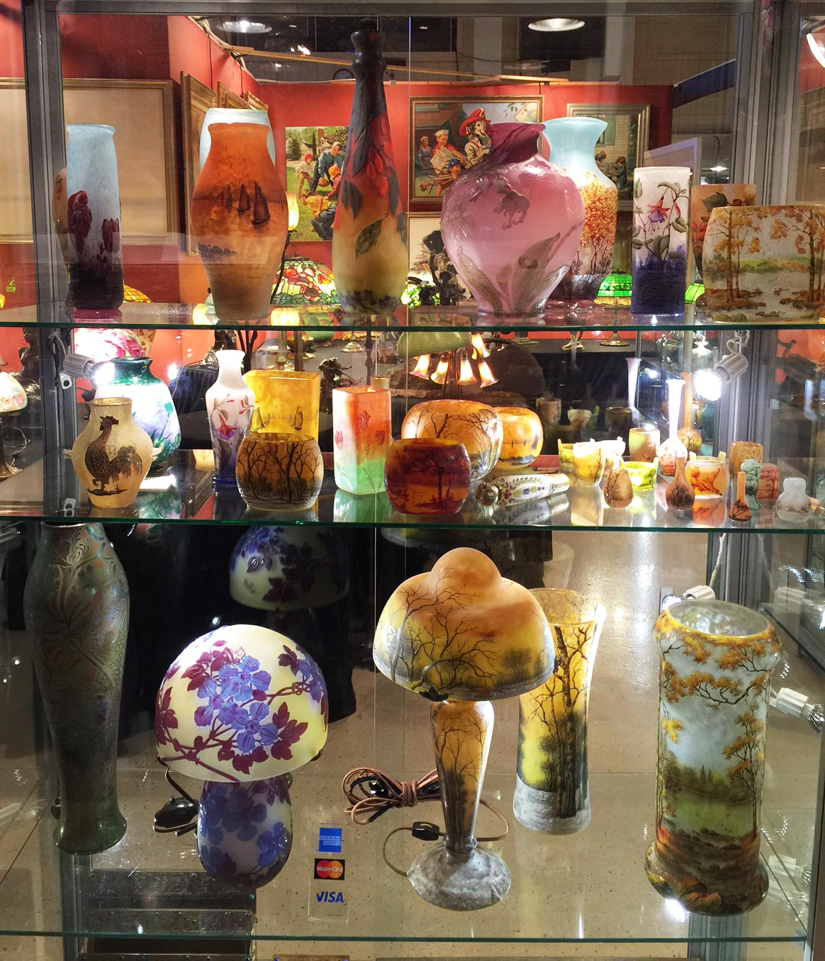 We displayed most of our Daum Nancy glass in this showcase