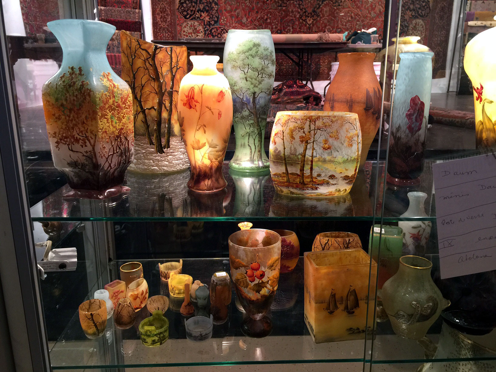 The Daum Nancy glass isn't all on the shelf yet, nor arranged, but here's a preview