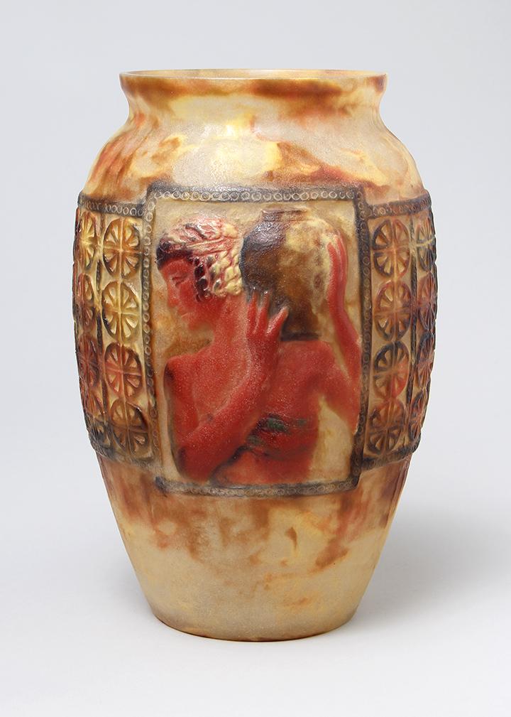 Monumental Argy-Rousseau pâte-de-verre vase Libation
