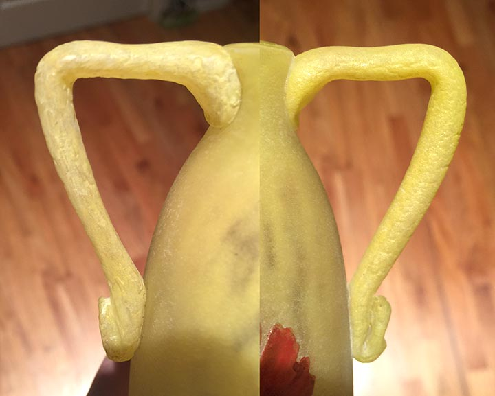 A side-by-side comparison of the two handles