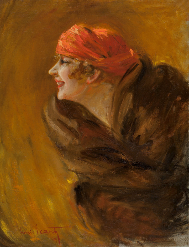 Louis Icart oil painting of his wife, Fanny Volmers, Heritage lot #60121