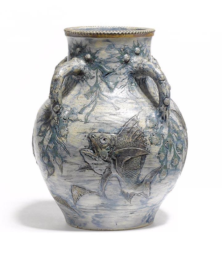 Martin Brothers aquatic vase, Bonham's lot #1010