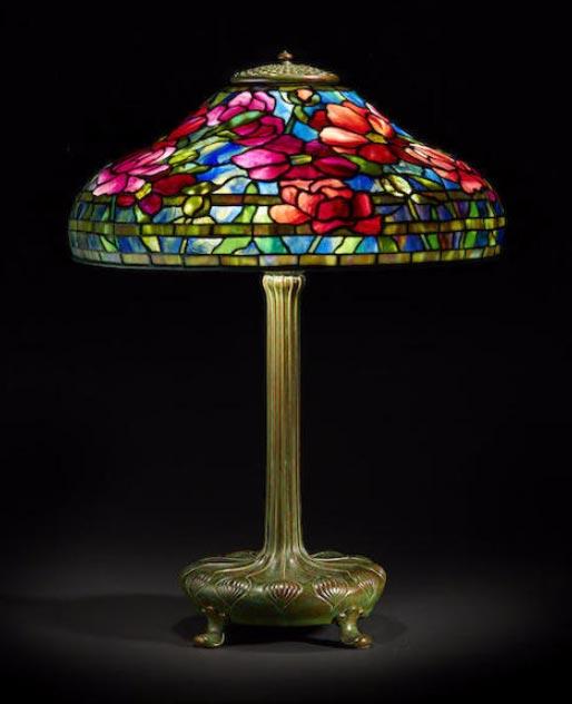 """Tiffany Studios 18"""" diameter Peony table lamp, Bonham's lot #15"""