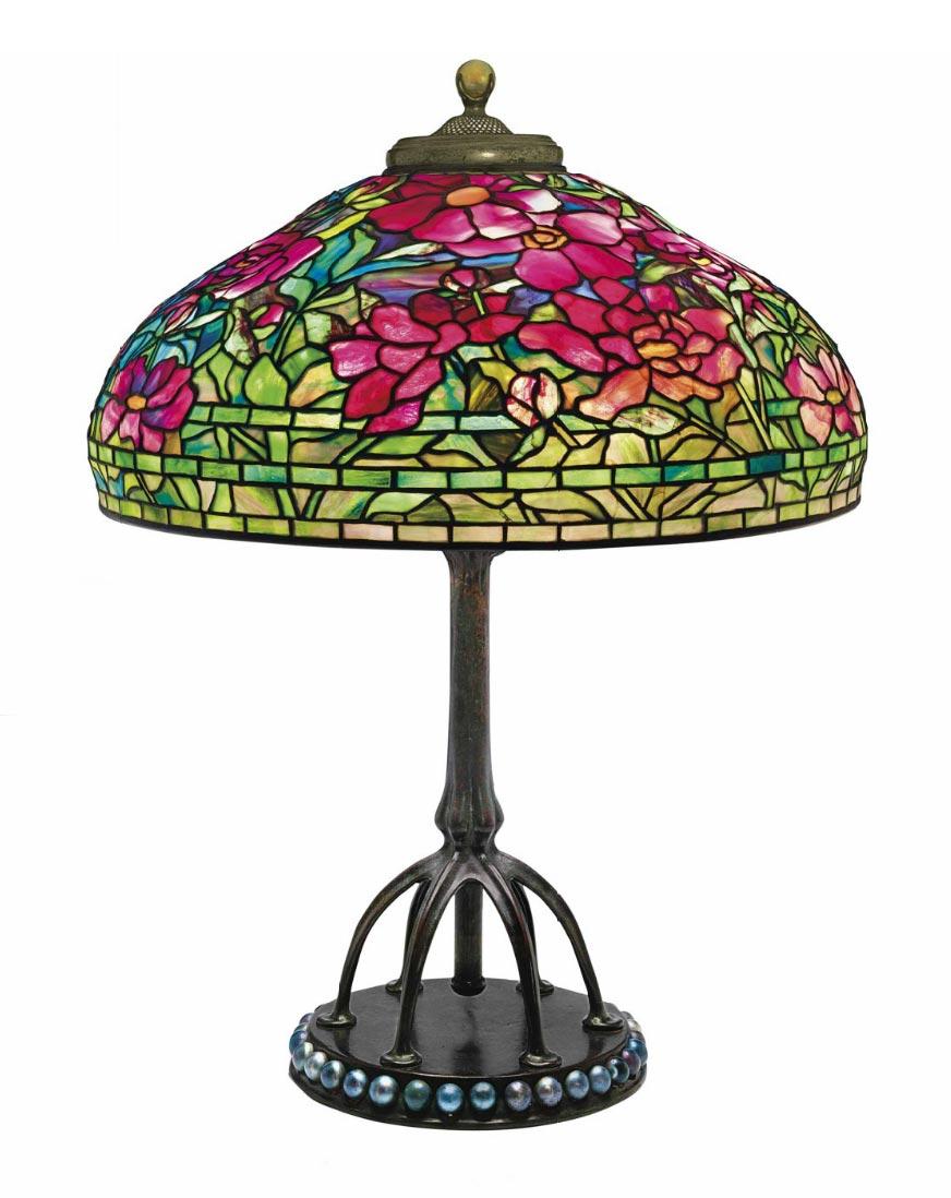 "Tiffany Studios 22"" Peony table lamp, Christie's lot #318"