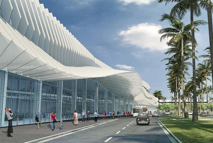 An artist's rendering of the renovated Miami Beach Convention Center