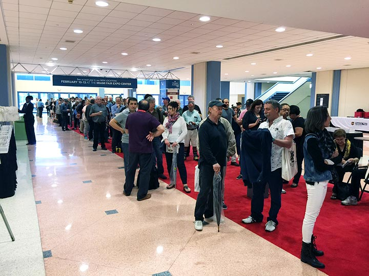 There were several hundred people lined up at Halls C & D for the opening on Thursday