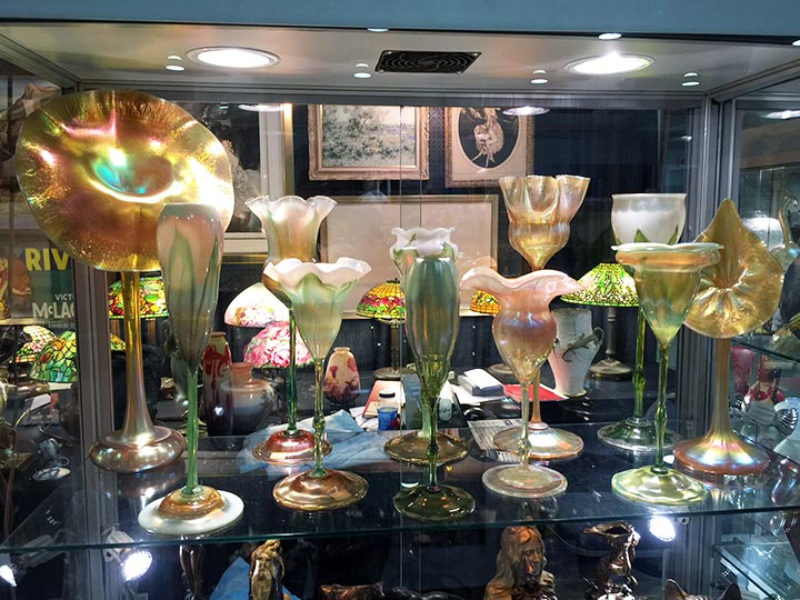 We had an amazing display of Tiffany Favrile floriform vases at the show
