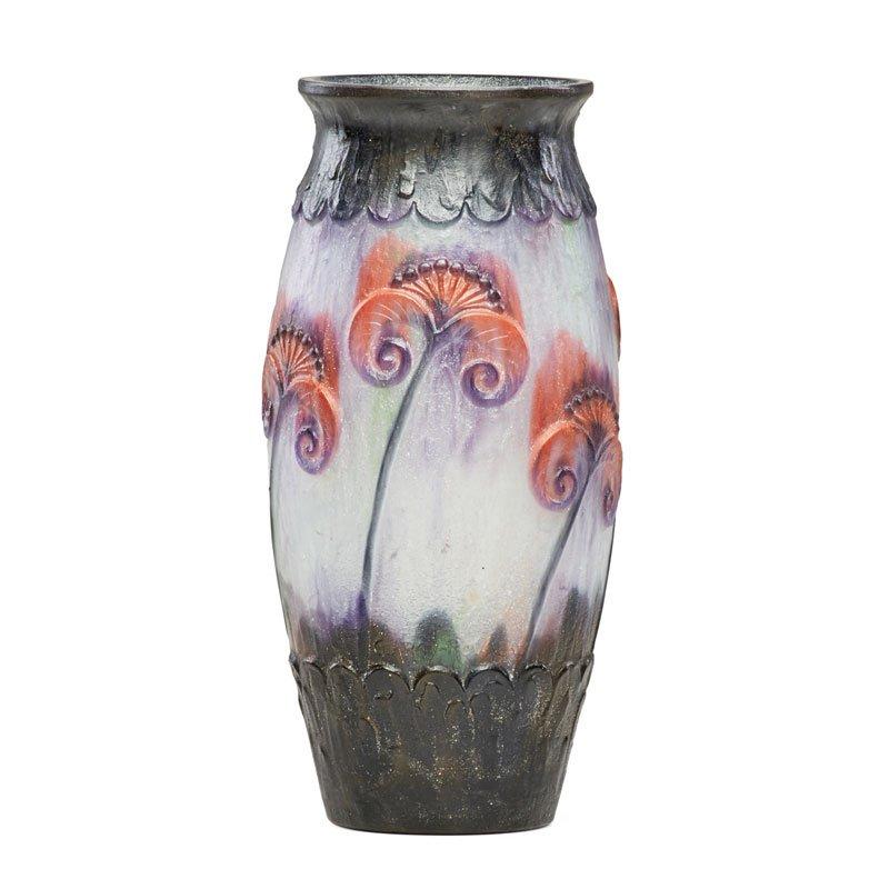 Argy-Rousseau pâte-de-verre Papyrus vase, Rago lot #48