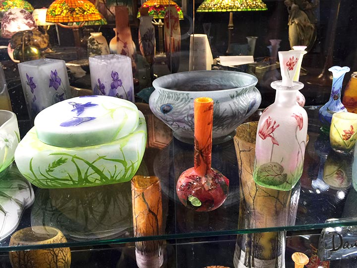 Part of one shelf of Daum glass, showing some of my new purchases