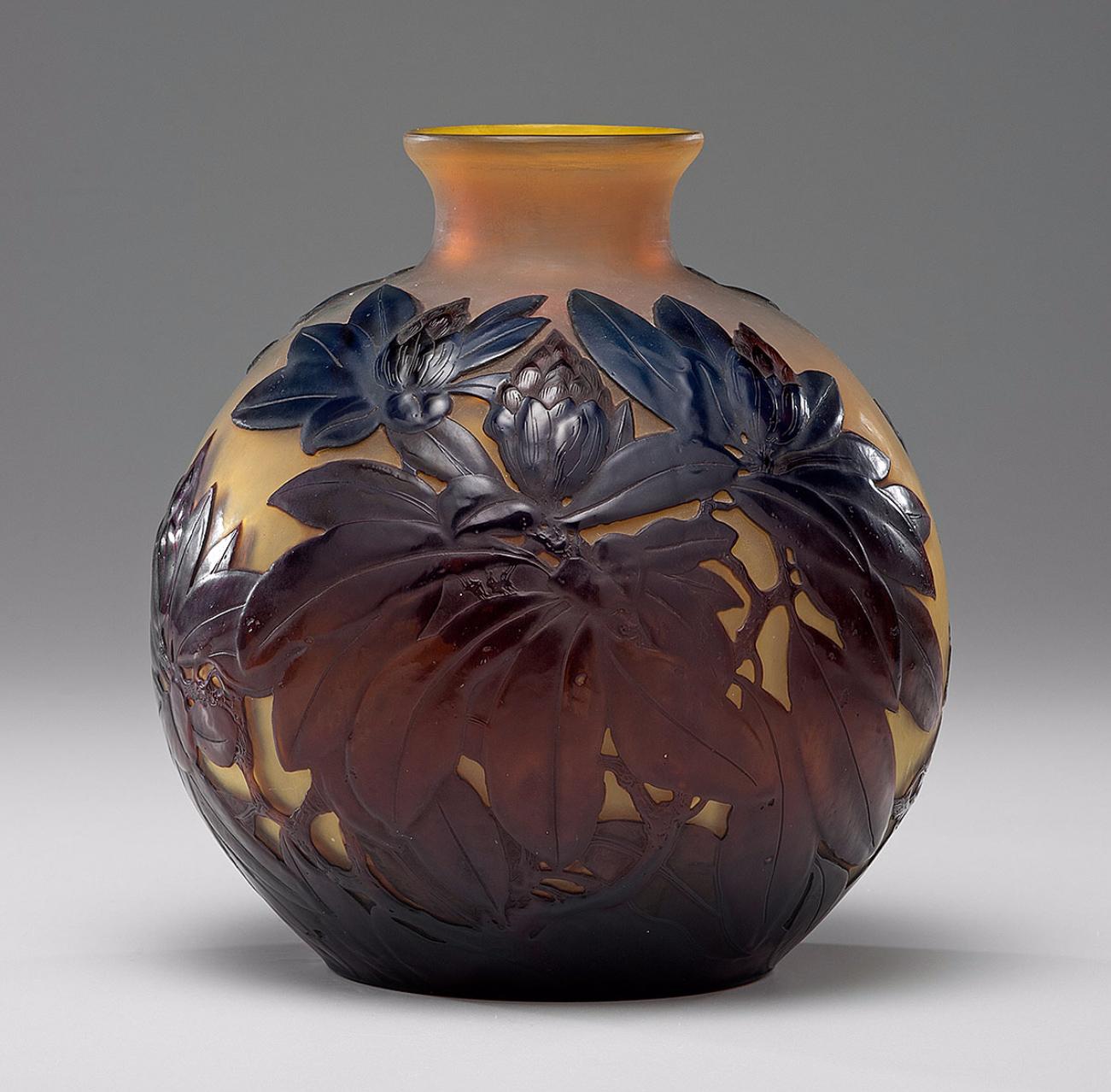 Gallé Rhododendron blownout vase, Cowan's lot #330