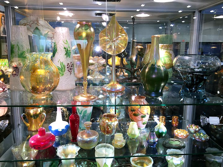 Part of our selection of Tiffany Favrile glass