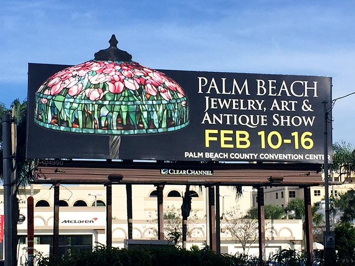A billboard on the main road, Okeechobee Blvd., advertising the show