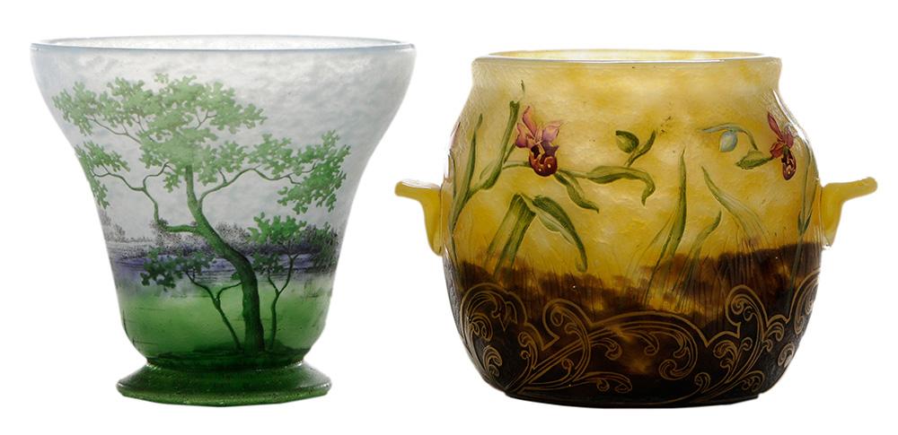 Two Daum Nancy vases, Brunk lot #139