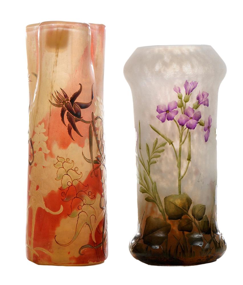 Gallé Crystallerie vase and Daum Nancy vase, Brunk lot #145