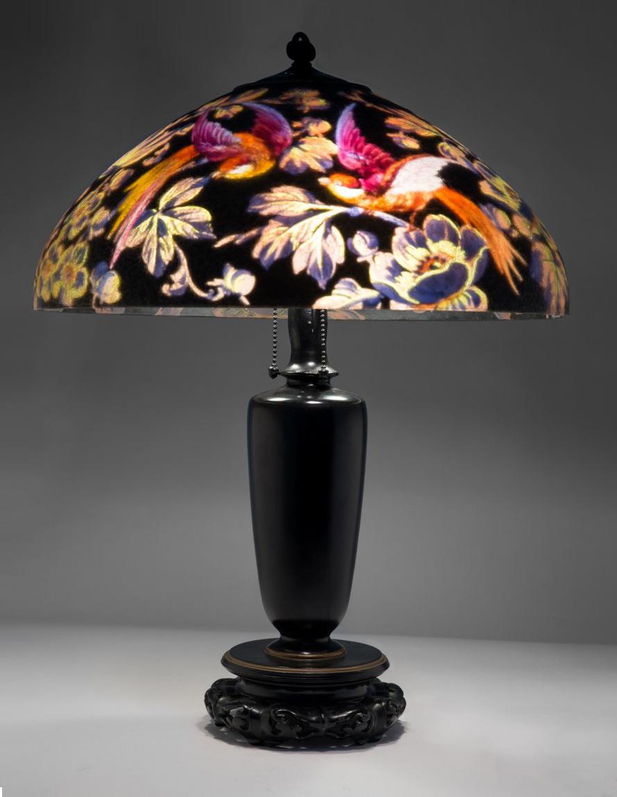 "Rare Handel 18"" Bird lamp"