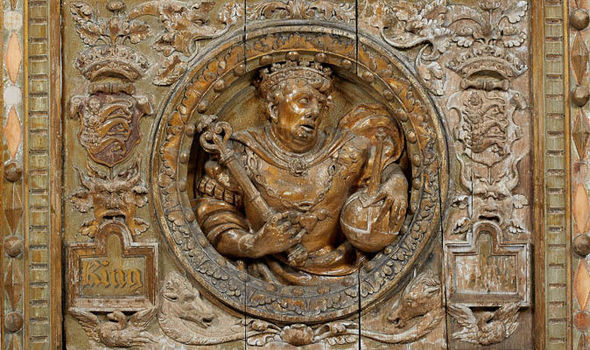 16th century oak door panel of King John