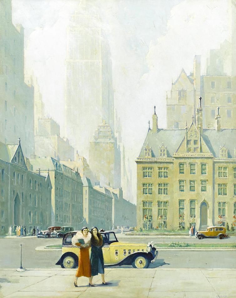 Lee Lash painting of New York, Bonham's lot #201