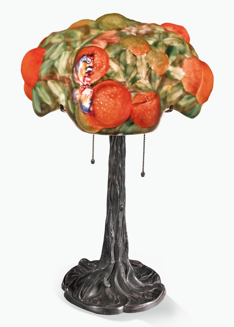 Pairpoint Orange Tree puffy lamp, Sotheby's lot #45