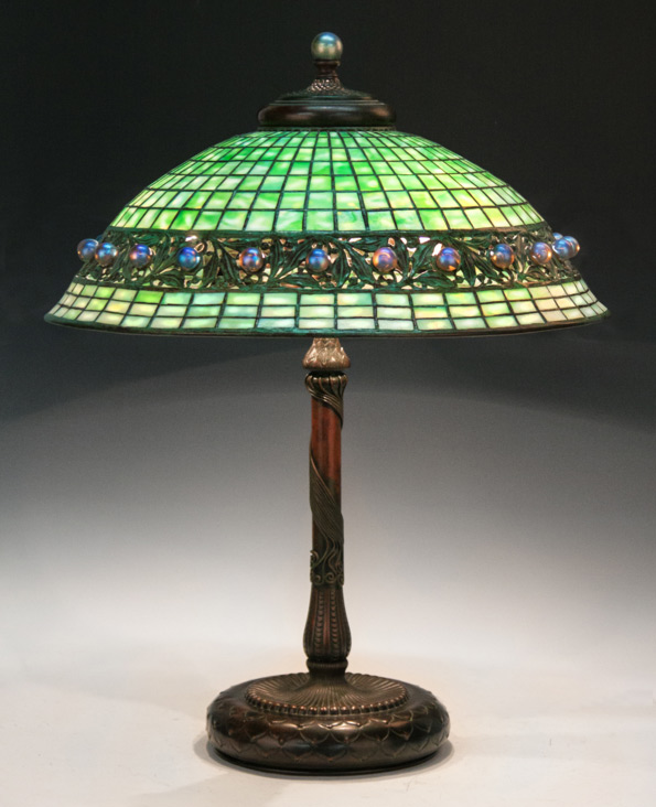 Tiffany geometric and ball table lamp, Cottone lot #265