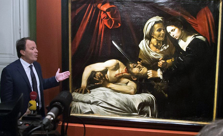 Discovered Caravaggio painting shown at news conference